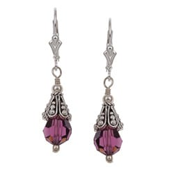 Charming Life Sterling Silver Purple Crystal Bead Earrings