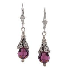 Charming Life Sterling Silver Purple Crystal Earrings