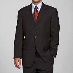 Carlo Lusso Men's Black Striped 3-button Suit