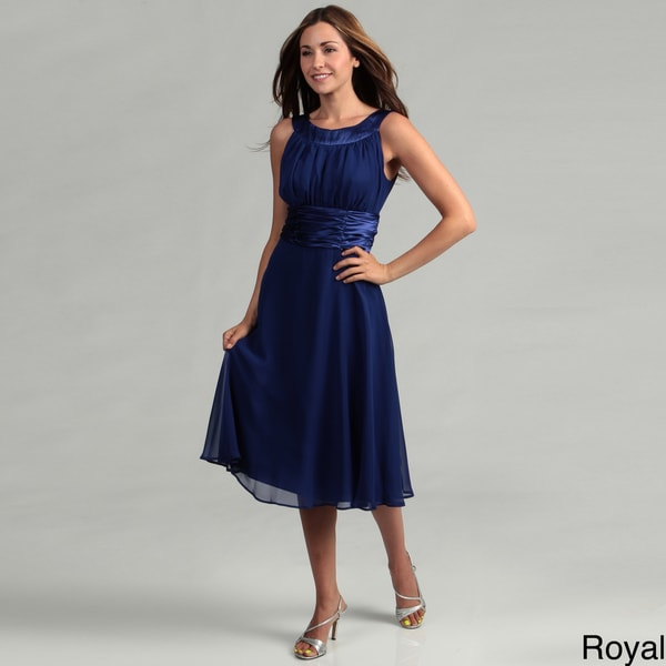 Connected Apparel Women's Shirred Chiffon Dress FINAL SALE