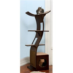 The Refined Feline's Lotus Espresso Color Cat Tower
