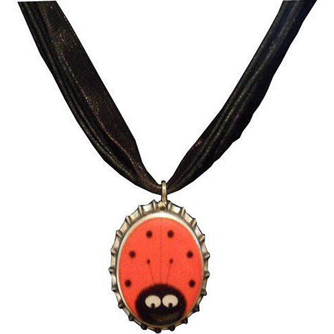 Steel Red Ladybug Bottle Cap Necklace