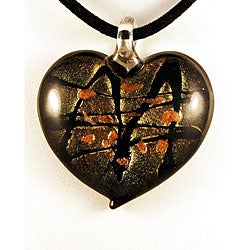 Glass Black and Gold Murano-inspired Heart Pendant