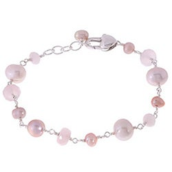 Misha Curtis Silver Pretty-in-Pink Quartz and Pearl Bracelet (4-8 mm)
