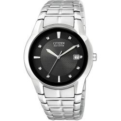 Citizen Men's Eco-drive Stainless Steel Watch with Black Dial