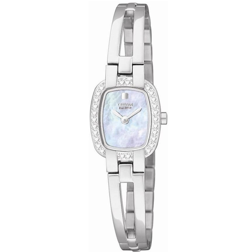 Citizen Women's Eco-Drive Stainless Steel Watch with Black Mother-of-Pearl and Swarovski Crystals
