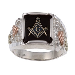 Black Hills Gold and Sterling Silver Mens Onyx Masonic Emblem Ring