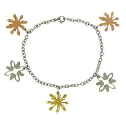 Stainless Steel Tri-color Abstact Snowflake Bracelet