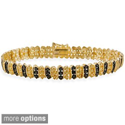 DB Designs Sterling Silver Black or White Diamond Accent Tennis Bracelet