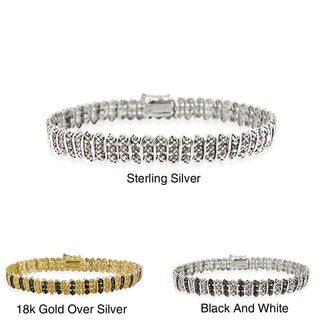 DB Designs Sterling Silver Black or White Diamond Accent Tennis Bracelet