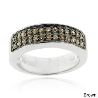 DB Designs Sterling Silver 1/4ct TDW Diamond 2-row Band