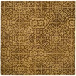 Handmade Majestic Beige Wool Rug (8' Square)