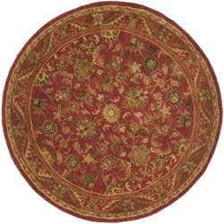 Handmade Heirloom Red Wool Rug (6' Round)