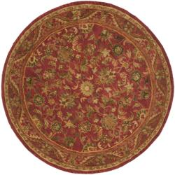 Handmade Heirloom Red Wool Rug (8' Round)