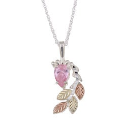 Black Hills Gold and Sterling Silver Pink Cubic Zirconia Necklace