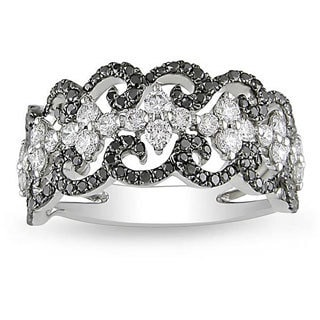 Miadora Signature Collection 18k Gold 1 1/5ct TDW Black and White Diamond Ring (G-H, SI1-SI2)