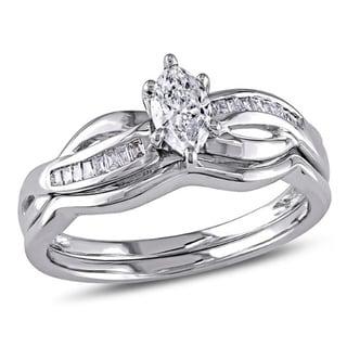 Miadora Signature Collection 14k White Gold 1/2ct TDW Marquise Diamond Bridal Set