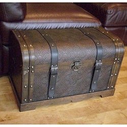Antique Victorian Wood Trunk Treasure Chest