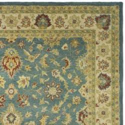 Handmade Jaipur Blue/ Beige Wool Rug (7'6 x 9'6)