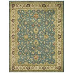 Handmade Jaipur Blue/ Beige Wool Rug (8'3 x 11')