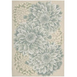 Nourison Hand-hooked Fantasy Light Green Rug (8' x 10'6)