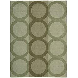 Nourison Hand-tufted Panache Green Geometric Wool Rug (5'6 x 7'5)