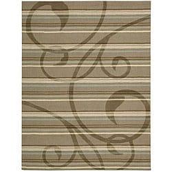 Nourison Hand-tufted Panache Brown Floral Rug (7'3 x 9'3)