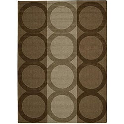 Nourison Hand-tufted Panache Brown Geometric Wool Rug (7'3 x 9'3)