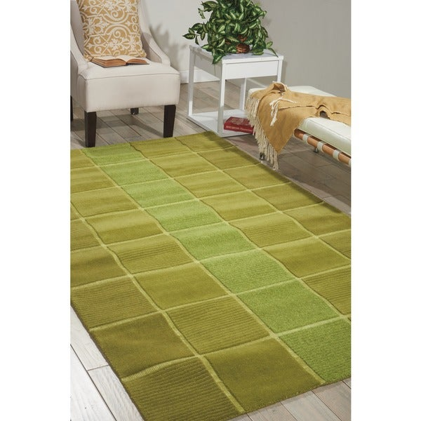 9x12 New Nourison Nourmak Hand Knotted Wool Reversible: Nourison Westport Hand-tufted Green Wool Rug (8' X 10'6