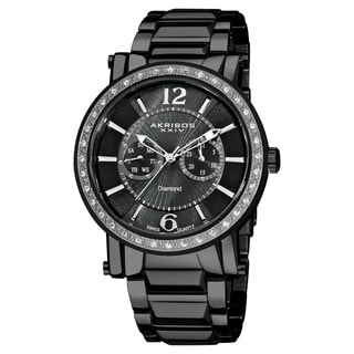 Akribos XXIV Men's Stainless Steel Swiss Diamond Watch