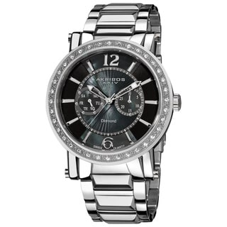 Akribos XXIV Men's Stainless Steel Swiss Day/ Date Water-Resistant Diamond Watch