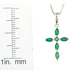 D'Yach 14k White Gold Emerald Cross Necklace