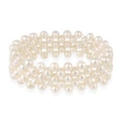 Glitzy Rocks Freshwater 3-row White Pearl Stretch Bracelet (5.5-6 mm)