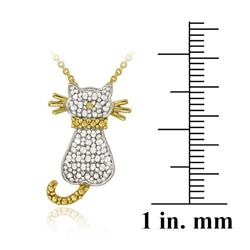 DB Designs 18k Gold Over Sterling Silver Yellow Diamond Accent Cat Necklace
