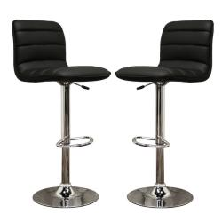 Lyris Black Faux Leather Modern Bar Stools (Set of 2)