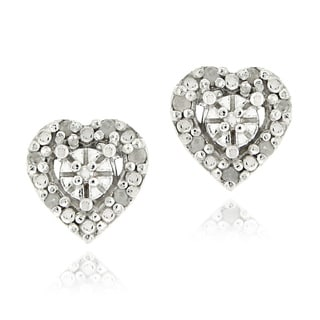 DB Designs Sterling Silver 1/8ct TDW Diamond Heart Earrings (I-J, 12-13)