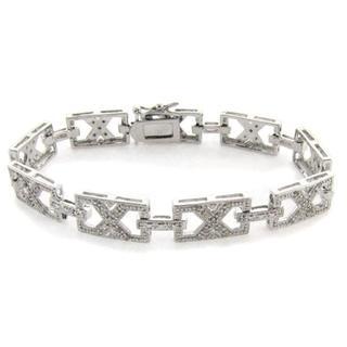 Finesque Sterling Silver 1/2ct TDW Diamond Framed 'X' Link Bracelet (I-J, I2-I3)
