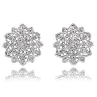 Finesque Sterling Silver Diamond Accent Burst Design Earrings