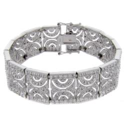 Finesque Sterling Silver 1ct TDW Diamond Half Circle Link Bracelet (I-J,I2-I3)