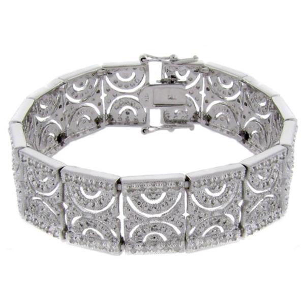 Finesque Sterling Silver 1ct TDW Diamond Half Circle Link Bracelet (I-J,I2-I3)