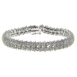 Finesque Sterling Silver 2ct TDW Diamond Pave Bracelet (I-J, I2-I3)