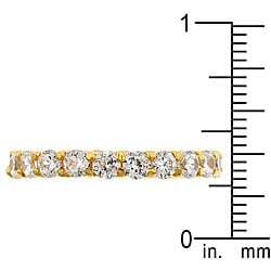 Kate Bissett 14k Gold over Sterling Silver Stackable Clear Cubic Zirconia Eternity Band
