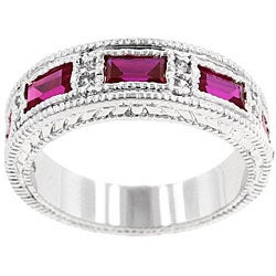 Kate Bissett Silvertone Red and Clear Cubic Zirconia Fashion Ring