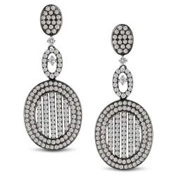 Miadora 18k White Gold 1 5/8ct TDW Diamond Oval Design Earrings (G-H, SI1-SI2)