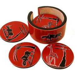 Set of 6 Handmade Red Soapstone Coasters (Kenya)