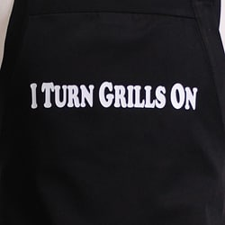 'I Turn Grills On' Men's Flirty Black Apron