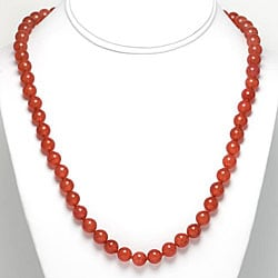 Sterling Silver Red Dyed Quartz Bead Necklace