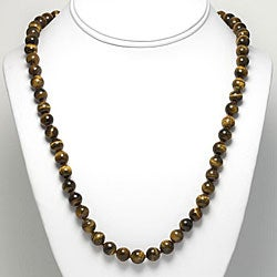 Sterling Silver Tiger's Eye Bead Necklace