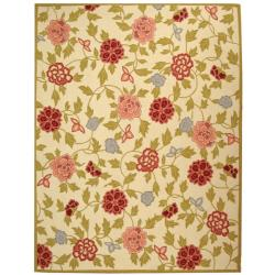 """Traditional Hand-Hooked Garden Ivory Wool Area Rug (3'9"""" x 5'9"""")"""
