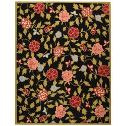 "Hand-Hooked Garden Black Wool Floral Rug (3'9"" x 5'9"")"